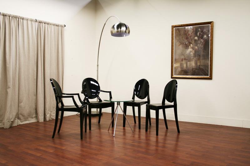 ... Baxton Studio Dymas Modern Acrylic Black Armed Ghost Chair   PC 449  Black