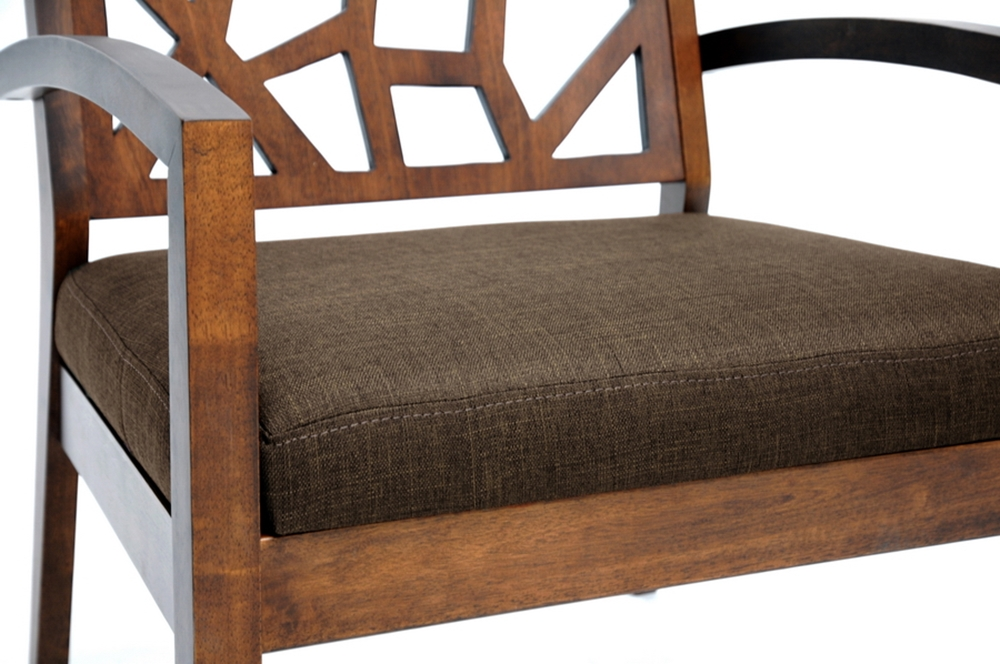 Jennifer Dark Brown Wood Modern Lounge Chair With Fabric