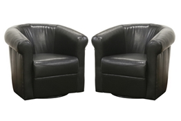 Baxton Studio Julian Black Brown Faux Leather Club Chair with 360 Degree Swivel Julian Black Brown Faux Leather Club Chair with 360 Degree Swivel wholesale, wholesale furniture, restaurant furniture, hotel furniture, commercial furniture.