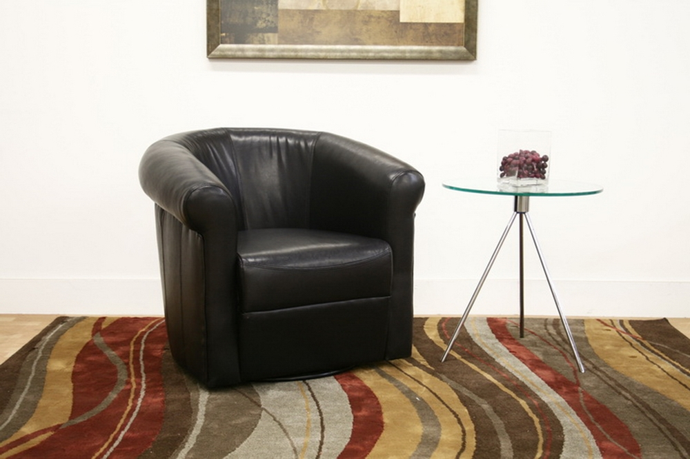 Julian Black Brown Faux Leather Club Chair With 360 Degree