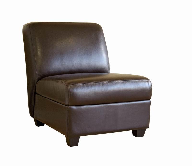 Dark Brown Armless Club Chair