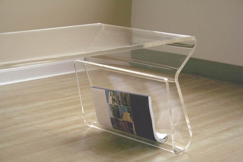 ... Baxton Studio Acrylic Coffee Table With Magazine Rack   FAY 9948 Clear