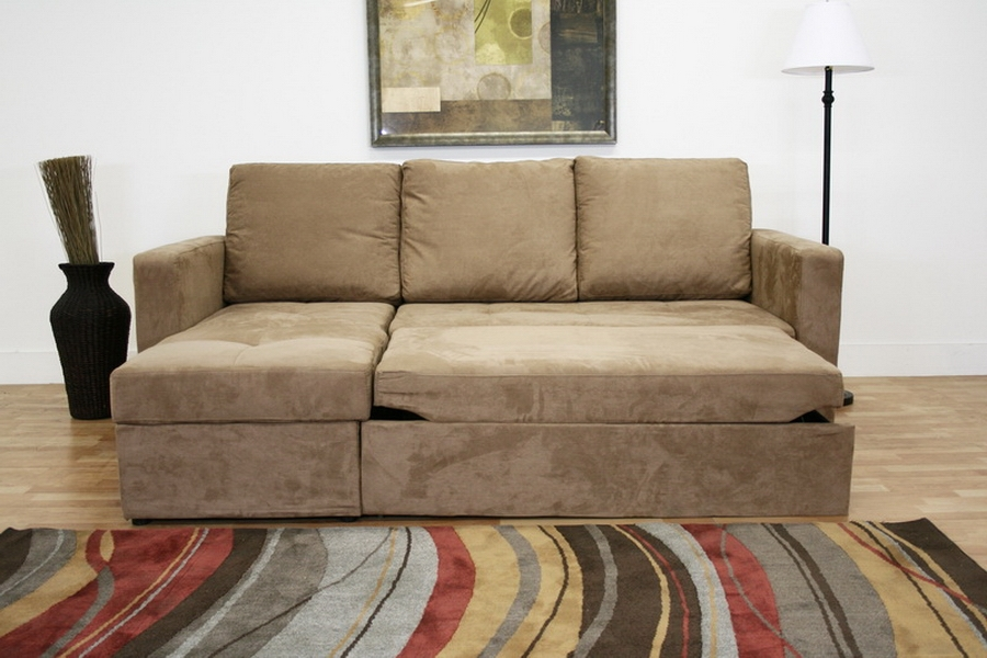 ... Baxton Studio Linden Tan Microfiber Convertible Sectional / Sofa Bed - LFC - LAN-121 : convertible sectional sofas - Sectionals, Sofas & Couches
