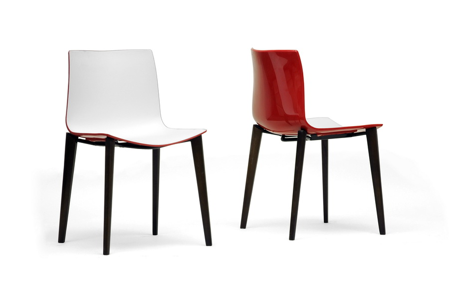 Incredible Baxton Studio Soren White And Red Modern Dining Chair Set Evergreenethics Interior Chair Design Evergreenethicsorg