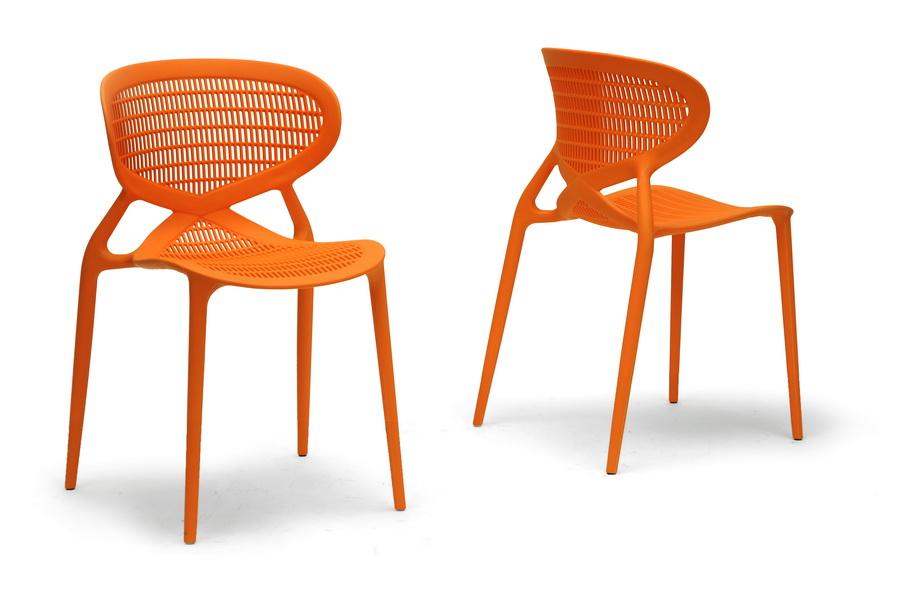 Awesome Baxton Studio Neo Orange Plastic Modern Dining Chair (Set Of 2)   DC  ...