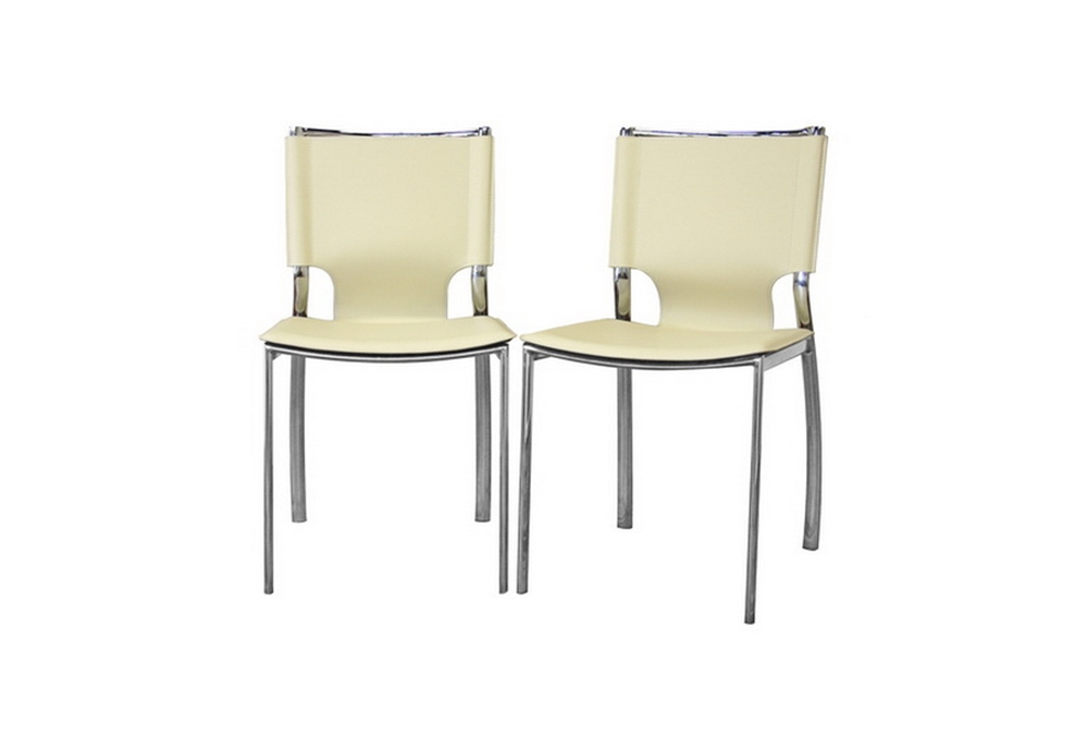 Montclare Ivory Leather Modern Dining Chair Set Of 2 Wholesale Interiors
