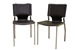 Dark Brown Leather Dining Chair with Chrome Frame Set of Two
