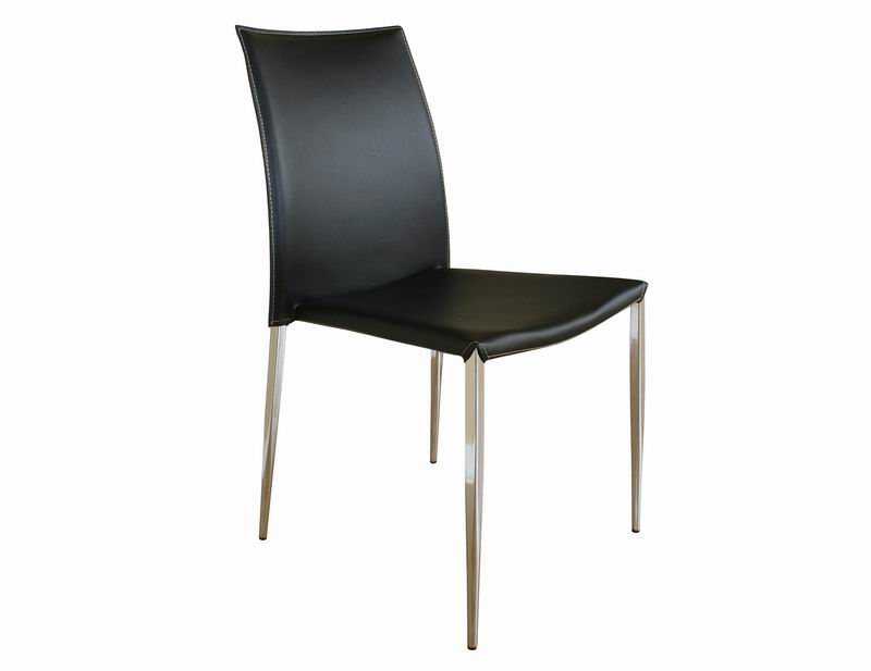 Benton black leather dining chair wholesale interiors for Contemporary black leather chairs