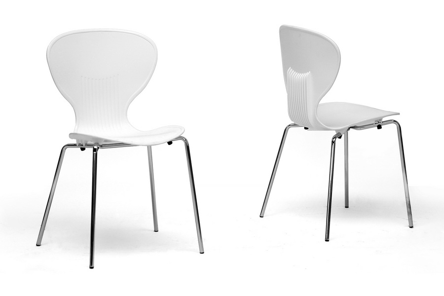 Bon Baxton Studio Boujan White Plastic Modern Dining Chair (Set Of 2)   DC  ...