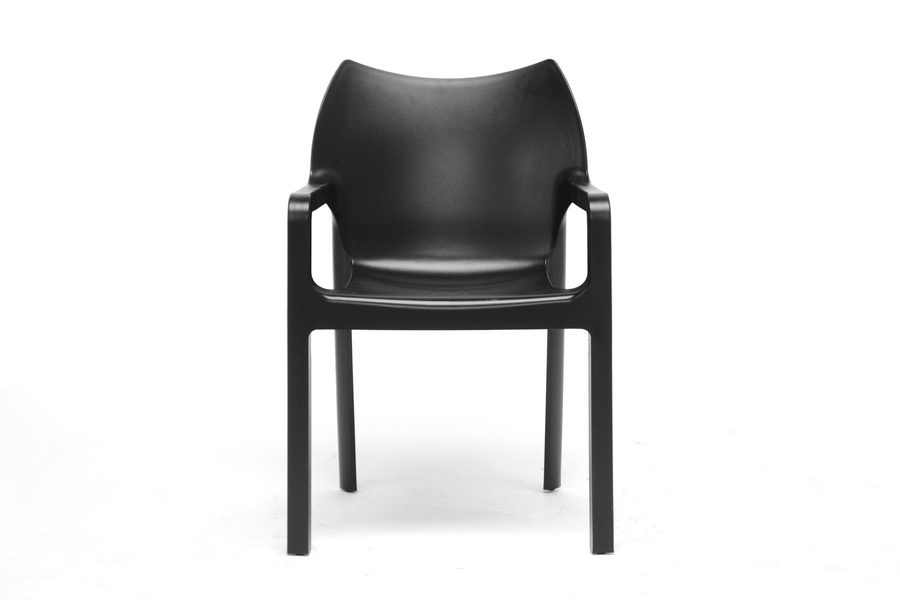 baxton studio limerick black plastic stackable modern dining chair set of 2 dc - Black Chair