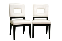 Baxton Studio Faustino Cream Leather Dining Chair Set of 2 Faustino White Leather Dining Chair Set of 2 wholesale, wholesale furniture, restaurant furniture, hotel furniture, commercial furniture