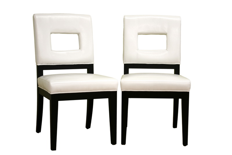 Faustino White Leather Dining Chair Set Of 2 Wholesale Interiors