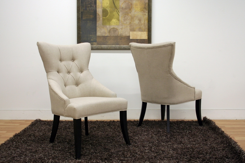 Daphne neutral linen fabric modern dining chair set of 2 wholesale interiors - Stylish modern dining sets for neutral toned interior ...