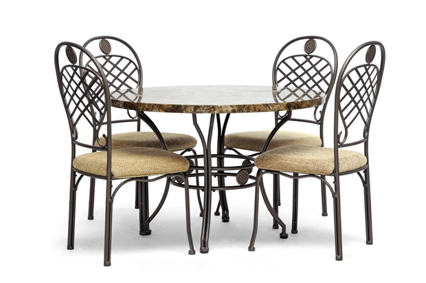 baxton studio hera brown 5 piece modern dining set