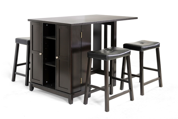 Aurora 5 Piece Dark Brown Modern Pub Table Set With Cabinet Base