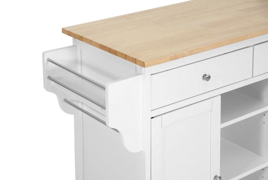 Meryland White Modern Kitchen Island Cart | Wholesale Interiors