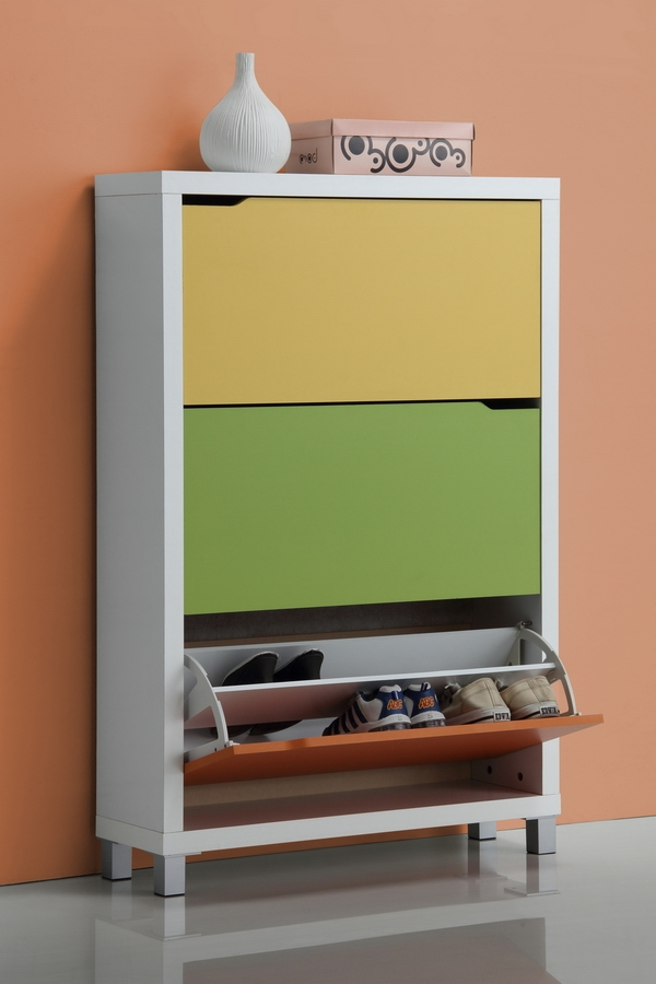 ... Simms White Modern Shoe Cabinet   FP 3OUSH MULTI COLOR