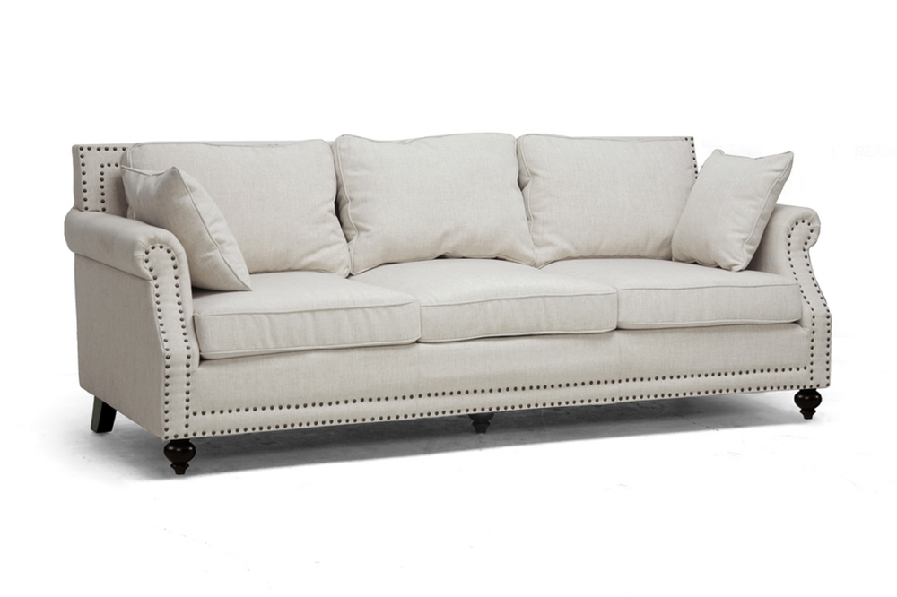 Baxton studio mckenna beige linen modern sofa wholesale interiors - Wholesale contemporary furniture warehouse ...