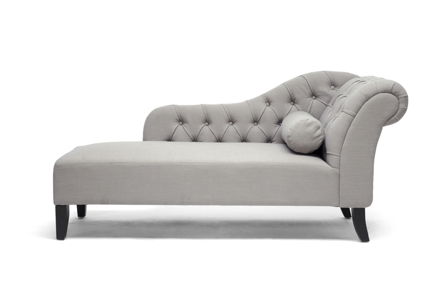 Chaiselongue Modern baxton studio aphrodite tufted putty gray linen modern chaise lounge