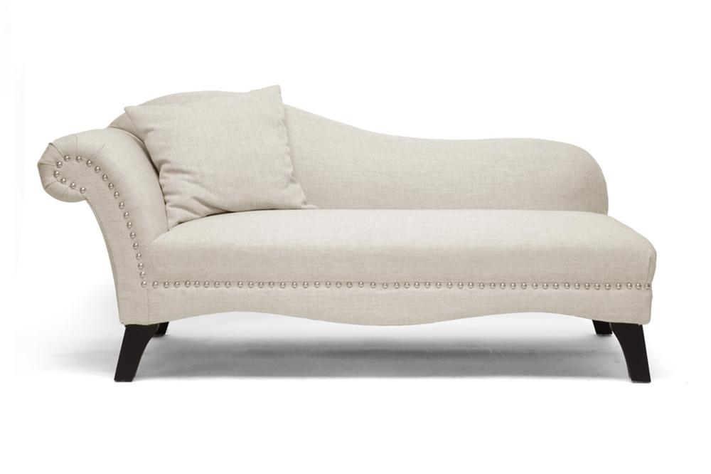 Baxton studio phoebe beige linen modern chaise lounge - Modern chaise lounge chairs living room ...