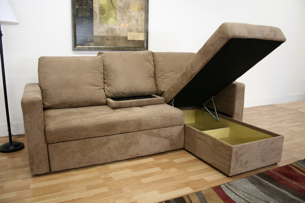 Baxton Studio Linden Tan Microfiber Convertible Sectional Sofa Bed Lan 121