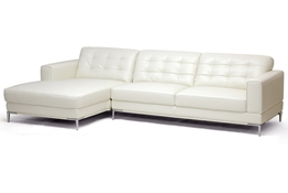 Baxton Studio Babbitt Ivory Leather Modern Sectional Sofa Babbitt Ivory Leather Modern Sectional Sofa, wholesale furniture, restaurant furniture, hotel furniture, commercial furniture