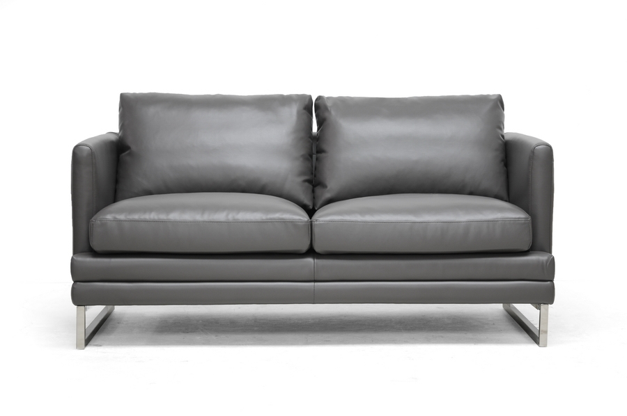 ... Baxton Studio Dakota Pewter Gray Leather Modern Sofa Set   1378 DU8145  LS (1 ...