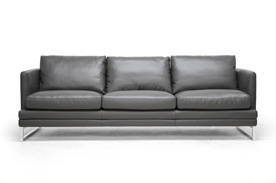 baxton studio dakota pewter gray leather modern sofa wholesale