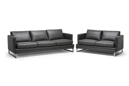 Baxton Studio Dakota Pewter Gray Leather Modern Sofa Set Baxton Studio Dakota Pewter Gray Leather Modern Sofa Set, wholesale furniture, restaurant furniture, hotel furniture, commercial furniture