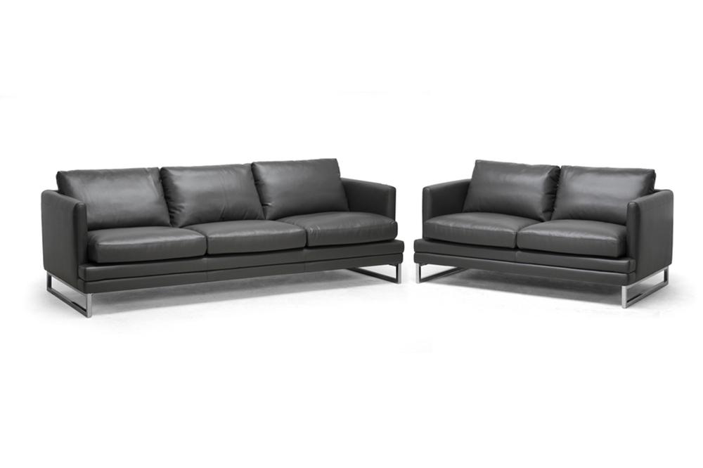 Sensational Baxton Studio Dakota Pewter Gray Leather Modern Sofa Set Creativecarmelina Interior Chair Design Creativecarmelinacom