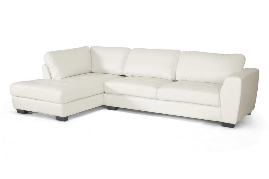 Baxton Studio Orland White Leather Modern Sectional Sofa Set ...