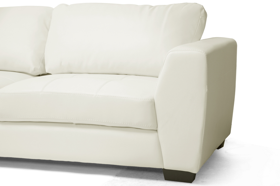 Baxton Studio Orland White Leather Modern Sectional Sofa Set With Left Facing Chaise Ids023