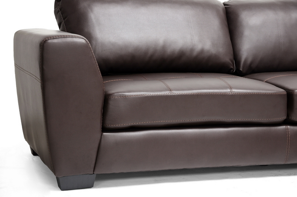 Baxton Studio Orland Brown Leather Modern Sectional Sofa Set With Right Facing Chaise Ids023