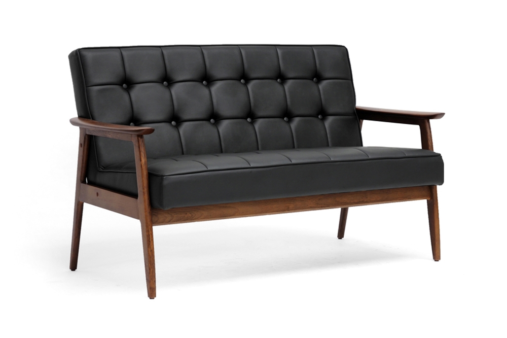 Baxton studio stratham black mid century modern sofa wholesale interiors - Wholesale contemporary furniture warehouse ...