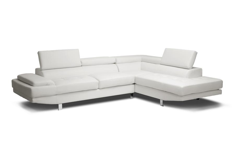 Baxton Studio Selma White Leather Modern Sectional Sofa | Wholesale ...
