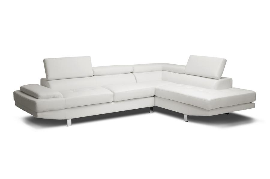 Baxton Studio Selma White Leather Modern Sectional Sofa   IDS077P SEC RFC  White ...