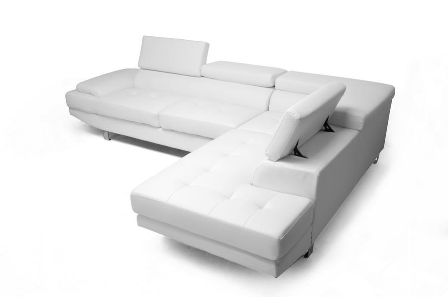 Madrid Taupe Beige Ultra Modern Living Room Furniture 3: Baxton Studio Selma White Leather Modern Sectional Sofa