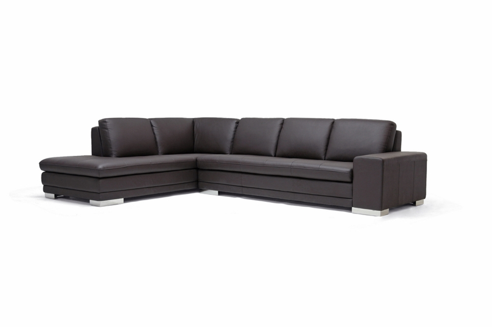 Callidora Dark Brown Leather-Leather Match Sofa Sectional Reverse ...