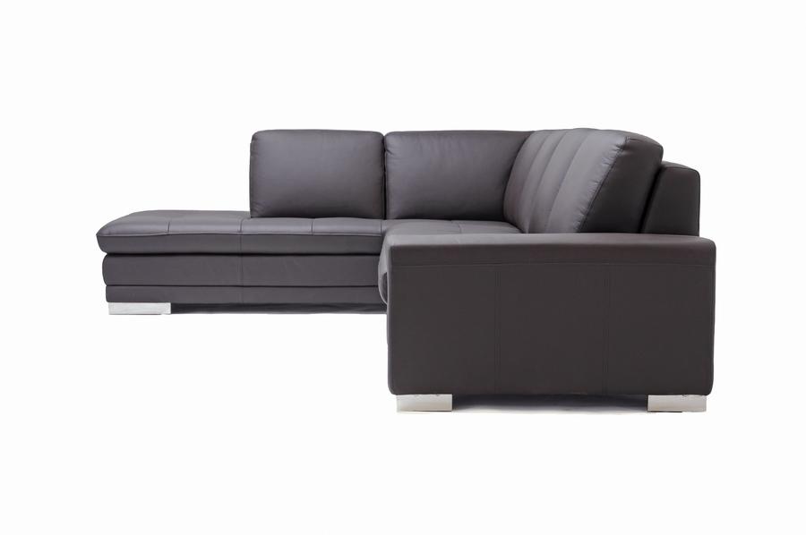 ... Baxton Studio Callidora Dark Brown Leather Leather Match Sofa Sectional  Reverse   766 Sofa ...
