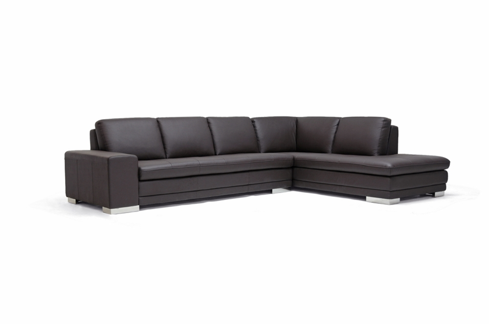 Callidora Dark Brown Leather-Leather Match Sofa Sectional ...