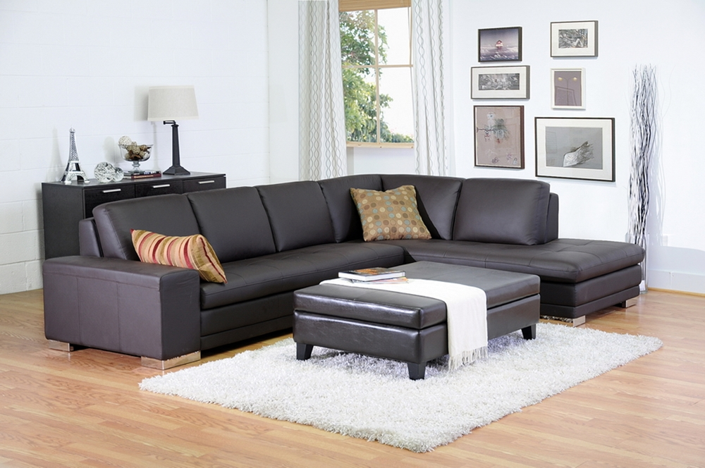 Callidora Dark Brown Leather Leather Match Sofa Sectional