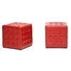 Wholesale Interiors Baxton Studio Siskal Red Modern Cube Ottoman (Set of 2)