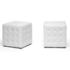 Wholesale Interiors Baxton Studio Siskal White Modern Cube Ottoman (Set of 2)