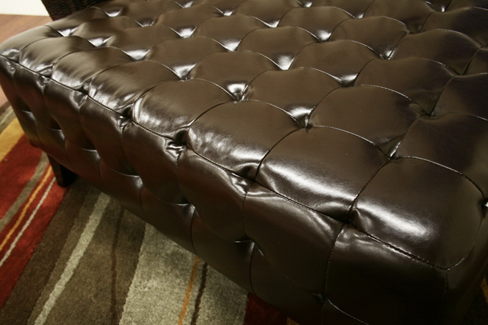 Remarkable Pemberly Dark Brown Bonded Leather Square Ottoman Caraccident5 Cool Chair Designs And Ideas Caraccident5Info