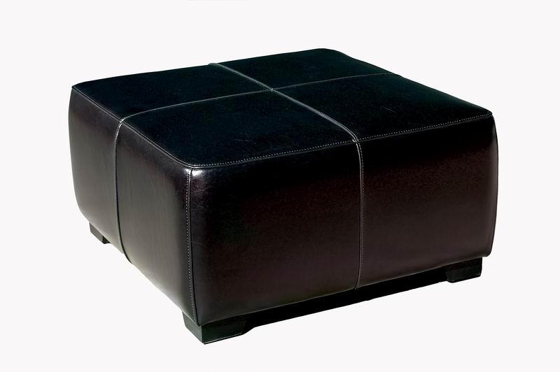 Black Full Leather Square Ottoman Footstool | Wholesale ...
