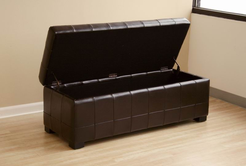 Black Full Leather Storage Bench Ottoman With Dimples