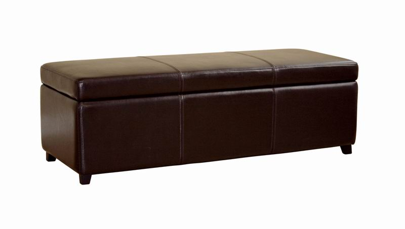 Superieur Baxton Studio Dark Brown Full Leather Storage Bench Ottoman With Stitching    Y 161  ...