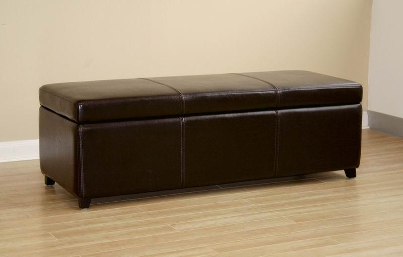 ... Baxton Studio Dark Brown Full Leather Storage Bench Ottoman With  Stitching   Y 161  ...