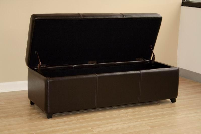 ... Baxton Studio Dark Brown Full Leather Storage Bench Ottoman With  Stitching   Y 161