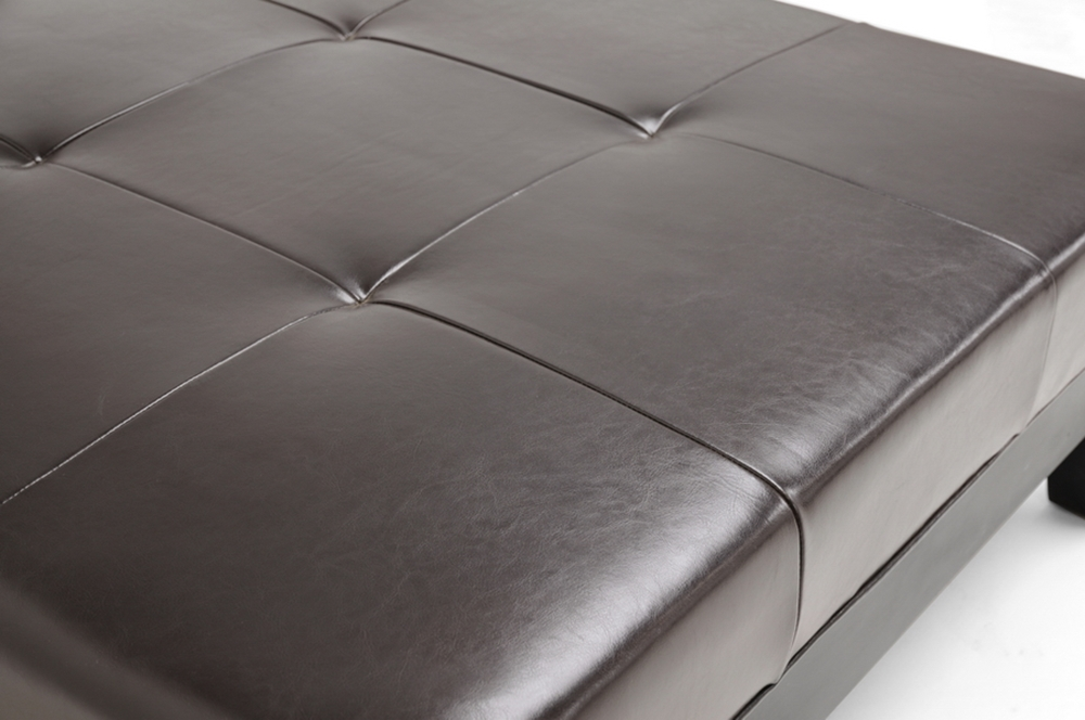 Dark Brown Large Full Leather Square Cocktail Ottoman